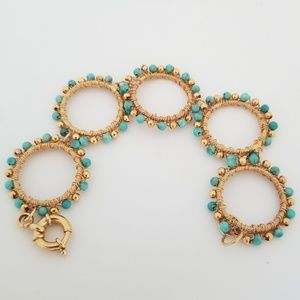 Turquoise and Gold Bead Bracelet